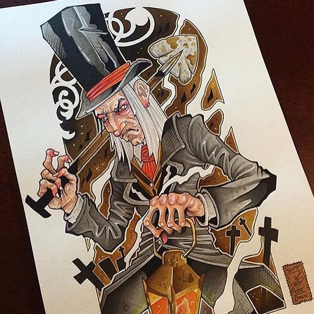Some of Scott's illustrations featured in his portfolio